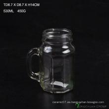 480ml Clear Strip con mango de vidrio Mason Jars para la venta
