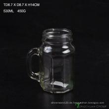 480ml Clear Strip mit Griff Glas Mason Gläser zum Verkauf