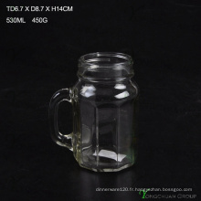 480ml Clear Strip with Handle Glass Mason Jars à vendre