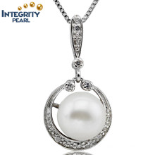 Pearl Pendants Wholesale 9-10mm Button Shape Fashion Natural Freshwater Pearl Pendant