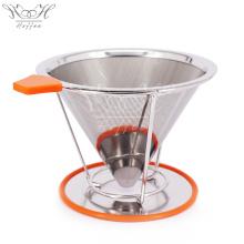 Cone reutilizável do filtro do aço inoxidável com suporte do copo