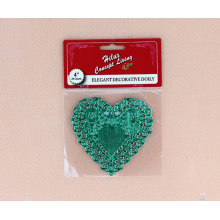 4inch heart shape green foil doily