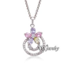 2016 elegante senhora 925 jóias de prata genuína pingente colorido cz (b-2992)