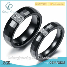 Diamond paved, Platinum Plated Black Ceramic Ring for women for men