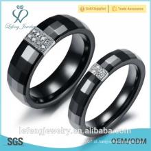 Diamond pavimentado, anel de cerâmica preta platinado para mulheres para homens