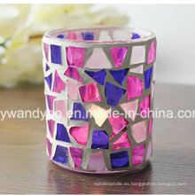Único Mosaico De Vidrio Candle Holder