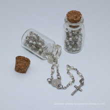 Catholic Small Glass Beads Rosaries with Cross and Glass Bottle (IO-cr394)