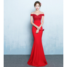A one-word shoulder winter evening dress
