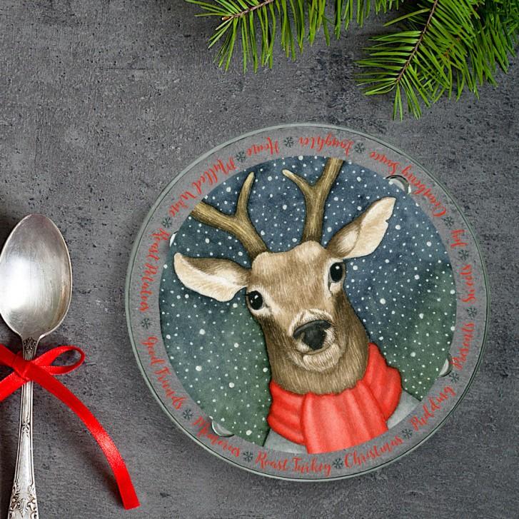 winter-reindeer-round-glass-coaster