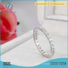 Platinum anel de banda de diamante, anéis de casamento de platina para as mulheres