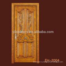 Дверь из композитного дерева с резным шпонированием, с 4-мя панелями и большой решеткой