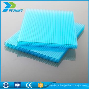 Transparente maßgeschneiderte 4mm Doppelwandlexan Polycarbonat Dachblech