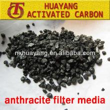 Huayang material de filtro de antracita de material de purificación de agua especial en diferentes tamaños