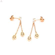 Rose Gold Crystal Tassel Long Drop Leaf Earrings