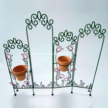Fence Design Set Of Metal Flower Potstand