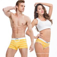Factory stocking high quality men and women couple strip underwear cotton mid-waist pants underwear