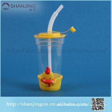 2014 hot sale 16oz eco-friendly plastic cup with lid and straw for kid