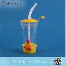 2014 venda quente 16 oz eco friendly copo de plástico com tampa e palha para o miúdo