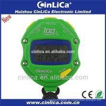 100 voltas memória esportes cronômetro com três linhas LCD display