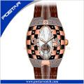 Psd-2325 la montre en cuir de bande de montre en cuir montre automatique unisexe montre-bracelet de mode