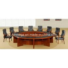 Mesa de reuniones redonda del MDF de la madera de la nuez clásica antigua de la nuez con el cojín de escritura