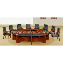 Antique Classic Walnut Wood Veneer MDF Round Conference Table with Writing Pad