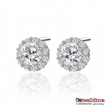 Cute Round CZ Bridal Stud Earrings (CER0033-B)