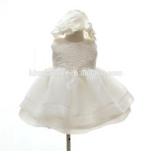 Vestido de encaje bordado de la manera de los niños Vestido de una línea Vestido de volantes sin mangas lindo Tulle Vestido de las niñas pequeñas