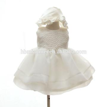 Kinder Mode bestickt Spitzenkleid Design A-Line niedlich Ärmellos Rüschen Kleid Tüll Kleinkind Mädchen Kleid