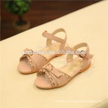 Розовый девочек сандалии кружевной воротник и пряжкой Falt сандалии PU