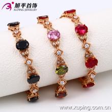 China atacado Xuping moda elegante zircão rosa pulseira de cor de ouro