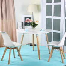 Europe style for Plastic Dining Table And Chair Nordic white solid beech wood round dining table export to India Wholesale
