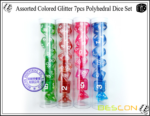 Assorted Colored Glitter 7pcs Polyhedral Dice Set-9