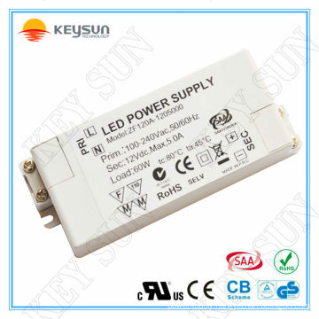 saa ce ul 60w led driver module 12v 5a power supply 12v dc for LED Strips