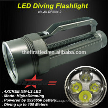 2014 New Professional JEXREE Underwater 100M Grey-Black 3500LM 4xCREE XML2 T6 Portable 4 cores Aluminum Alloy LED Flashlight