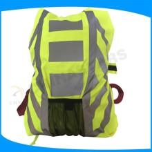 Color amarillo de alta visibilidad impermeable mochila reflexiva de seguridad para el exterior