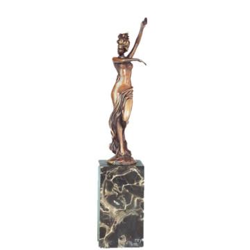 Weibliche Kunstsammlung Bronze Skulptur Nude Lady Decor Messing Statue TPE-739