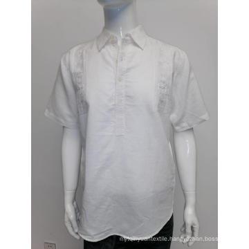 Men's ramie cotton short sleeve shirt in summer