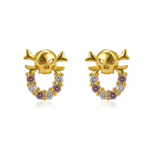 93765 Xuping jewelry 24K gold Plated skull head stud earrings for women