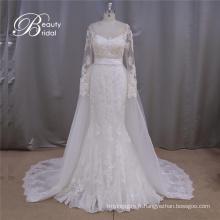 Manches longues robe de mariée a-ligne Train détachable