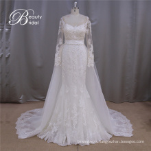 Long Sleeve A-Line Bridal Dress Detachable Train