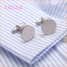 VAGULA New Arrival Rhodium Plated Laser Round Shirt Cuff Links