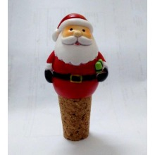 Polyresin Santa Bottle Stopper for Christmas Decoration