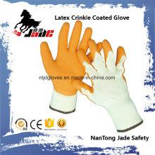 10g Algodón Palm Orange Látex Crinkle recubierto Industrial Guante