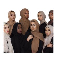 Mode 2017 haute qualité 75 couleurs chaude article couleur unie wholsale musulman froissé écharpe bulle hijab