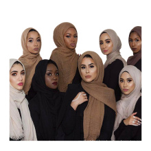 Fashion 2017 high quality 75 colors hot item solid color wholsale muslim crinkle scarf bubble hijab