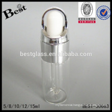 10ml cosmetic clear dropper tube glass vial with silver ring and rubber