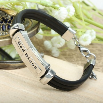 Metal alloy bracelet with leather cords (God Bless)