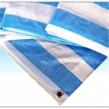Blue White Blue Stripe PE Tarpaulin 100GSM