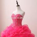 Rose design elegante vermelho frisado vestido de baile vestidos de noiva nupcial do ombro decote querida vestido de noiva puffy 2017